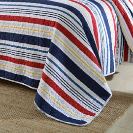 Queen Size Colorful Cross Stripes Design Cotton 3-Piece Bed in a Bag
