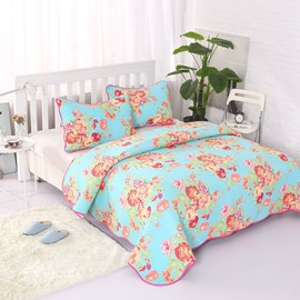Queen Size Floral Blooming Design Pastoral Style Blue 3-Piece Bed in a Bag