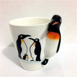 3D Lovely Penguins Animals Marine Life Ceramics Tea Cups and Coffee Mugs