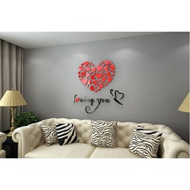 Romantic Heart and Butterfly Loving You Acrylic 3D Red Wall Sticker
