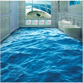 3D Blue Sea Wave Pattern PVC Non-slip Waterproof Eco-friendly Self-Adhesive Floor Murals