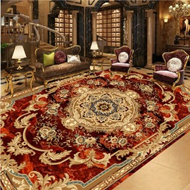 3D Classic Floral Rug Pattern PVC Waterproof Non-slip Eco-friendly Sturdy Floor Murals