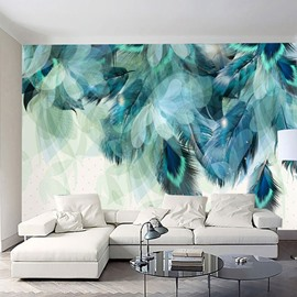 Waterproof Non-woven Fabrics Soft Peacock Feathers Environment Friendly 3D Wall Murals/Wallpaper