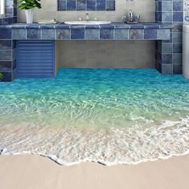 Beautiful Beach PVC Non-slip Waterproof Eco-friendly Self-Adhesive Floor Murals