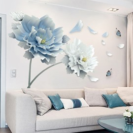DIY Reusable Blue and White Flower Pattern Wall Stickers for Living Room Bedroom