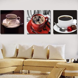Lovely Coffee Cup Sets Print 3-piece Cross Film Wall Art Prints