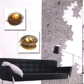 New Arrival Luxurious Golden Egg in Nest Print 2-piece Cross Film Wall Art Prints