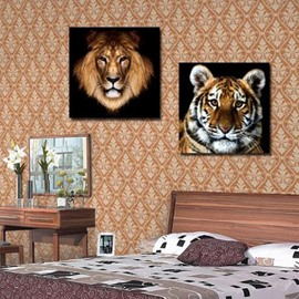 16×16in×2 Panels Tiger and Lion Heads Hanging Canvas Waterproof and Eco-friendly Framed Prints
