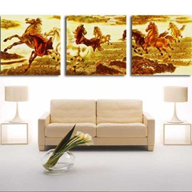 New Arrival Beautiful Running Horses Herd Print 3-piece Cross Film Wall Art Prints