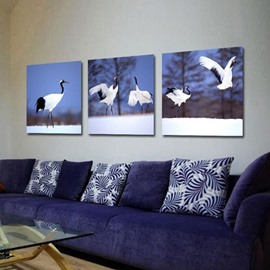 New Arrival Beautiful Cranes in the Snow Print 3-piece Cross Film Wall Art Prints