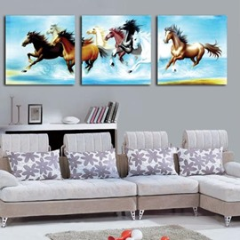 16×16in×3 Panels Rushing Horses Printed Hanging Canvas Waterproof and Eco-friendly Framed Prints