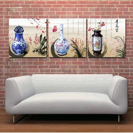 New Arrival Elegant Blue and White Porcelain and Letters Print 3-piece Cross Film Wall Art Prints