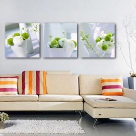 New Arrival Beautiful White and Green Flowers in the Vase Print 3-piece Cross Film Wall Art Prints