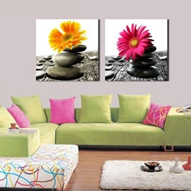 New Arrival Beautiful Daisy and Cobblestones Print 2-piece Cross Film Wall Art Prints