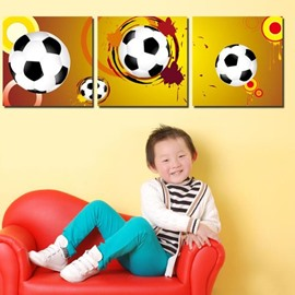 New Arrival Lovely Football Print 3-piece Cross Film Wall Art Prints