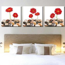 New Arrival Lovely Red Flowers and Cobblestones 3-piece Cross Film Wall Art Prints