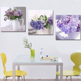 New Arrival Beautiful Purple Flowers in the Vase Print 3-piece Cross Film Wall Art Prints