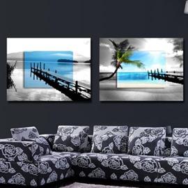 New Arrival Elegant Blue and Grey Beach Scenery Print 2-piece Cross Film Wall Art Prints