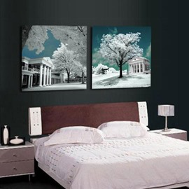 New Arrival Beautiful White Palaces and Trees Print 2-piece Cross Film Wall Art Prints