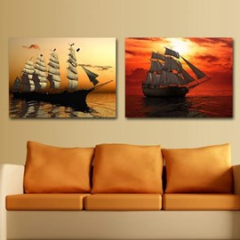 New Arrival Beautiful Sailing Ships in the Sunset Print 2-piece Cross Film Wall Art Prints