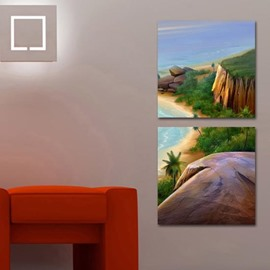 New Arrival Beautiful Beach and Cliffs Print 2-piece Cross Film  Wall Art Prints