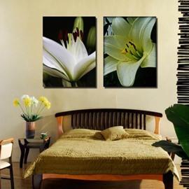 New Arrival Elegant White Lily Flowers Print 2-piece Cross Film Wall Art Prints
