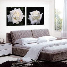 Elegant White Rose with Water Drops Print 2-piece Cross Film Wall Art Prints