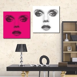 New Arrival Beautiful Lady Face Features Print 2-piece Cross Film Wall Art Prints