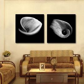 New Arrival Elegant Gray Tulip with Water Drops Print 2-piece Cross Film Wall Art Prints