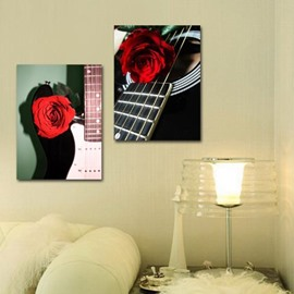 New Arrival Beautiful Roses on the Strings of Guitar Print 2-piece Cross Film Wall Art Prints