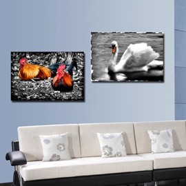 New Arrival Colorful Cock and White Duck Print 2-piece Cross Film Wall Art Prints