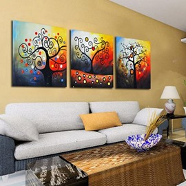 New Arrival Abstract Colorful Trees Print 3-piece Cross Film Wall Art Prints
