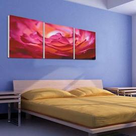 New Arrival Beautiful Pink Flower Petals Print 3-piece Cross Film Wall Art Prints