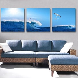 New Arrival Beautiful Sea Gulls Flying over the Wave Print 3-piece Cross Film Wall Art Prints