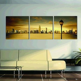 New Arrival Beautiful City Across the River Print 3-piece Cross Film Wall Art Prints