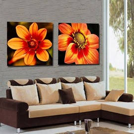 New Arrival Lovely Orange Flowers Print 2-piece Cross Film Wall Art Prints
