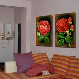 New Arrival Beautiful Rose Spray Print 2-piece Cross Film Wall Art Prints