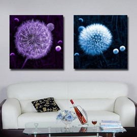 New Arrival Beautiful Purple and Blue Dandelion Print 2-piece Cross Film Wall Art Prints