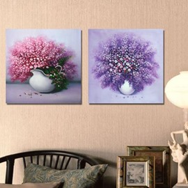 New Arrival Beautiful Small Flower Blossoms in Vase 2-piece Cross Film Wall Art Prints