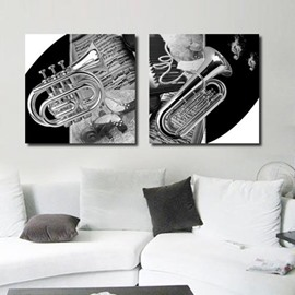 16×16in×2 Panels Saxophone and Music Notes Canvas Waterproof and Eco-friendly Framed Wall Prints