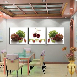 New Arrival Lovely Grapes and Cherries Print 3-piece Cross Film Wall Art Prints