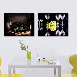 New Arrival Elegant Grapes and Wine Glasses Print 2-piece Cross Film Wall Art Prints