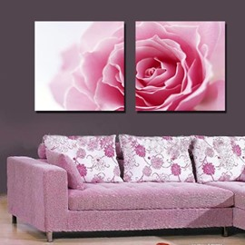 16×16in×2 Panels Pink Rose Hanging Canvas Waterproof and Eco-friendly Framed Prints