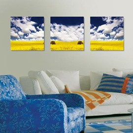 New Arrival Beautiful Blue Sky and Yellow Plain Print 3-piece Cross Film Wall Art Prints