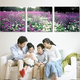 New Arrival Beautiful Purple and White Flowers Print 3-piece Cross Film Wall Art Prints