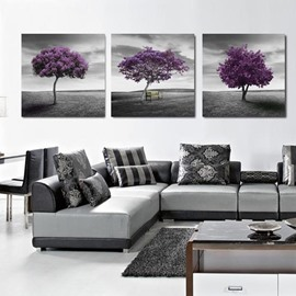 Elegant Purple Tree and Grey Sky Print 3-piece Cross Film Wall Art Prints