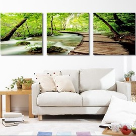 Lovely Green Trees and Path 3-piece Cross Film Wall Art Prints