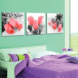 New Arrival Beautiful Pink Roses Print 3-piece Cross Film Wall Art Prints