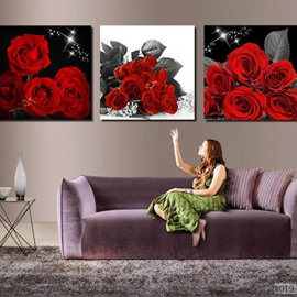 New Arrival Luxurious Red Roses Blossoms Print 3-piece Cross Film Wall Art Prints