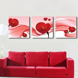 New Arrival Lovely Red Calla Flowers Print 3-piece Cross Film Wall Art Prints